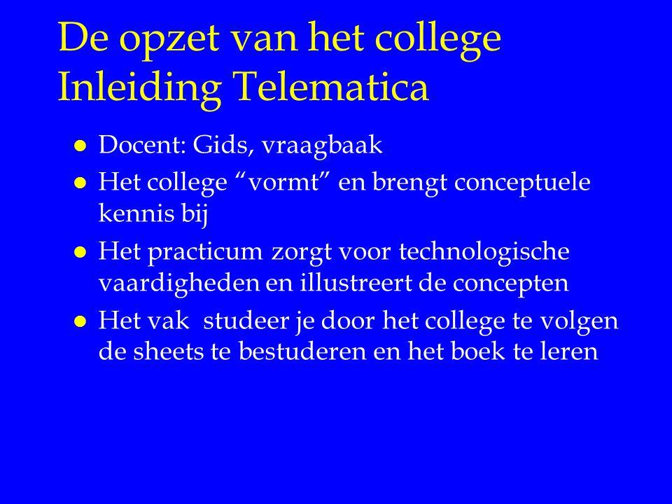 De opzet van het college Inleiding Telematica