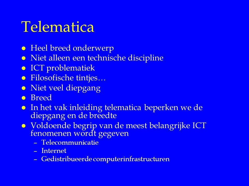 Telematica Heel breed onderwerp Niet alleen een technische discipline