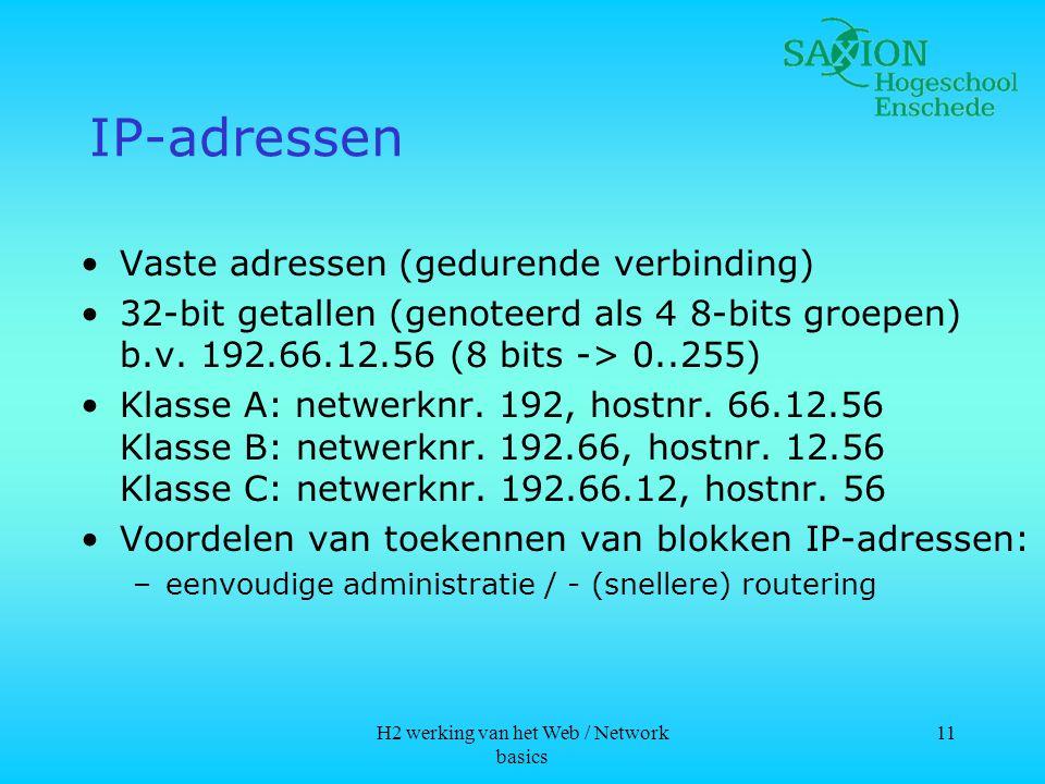 H2 werking van het Web / Network basics