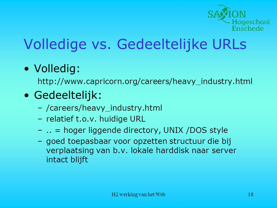 Volledige vs. Gedeeltelijke URLs
