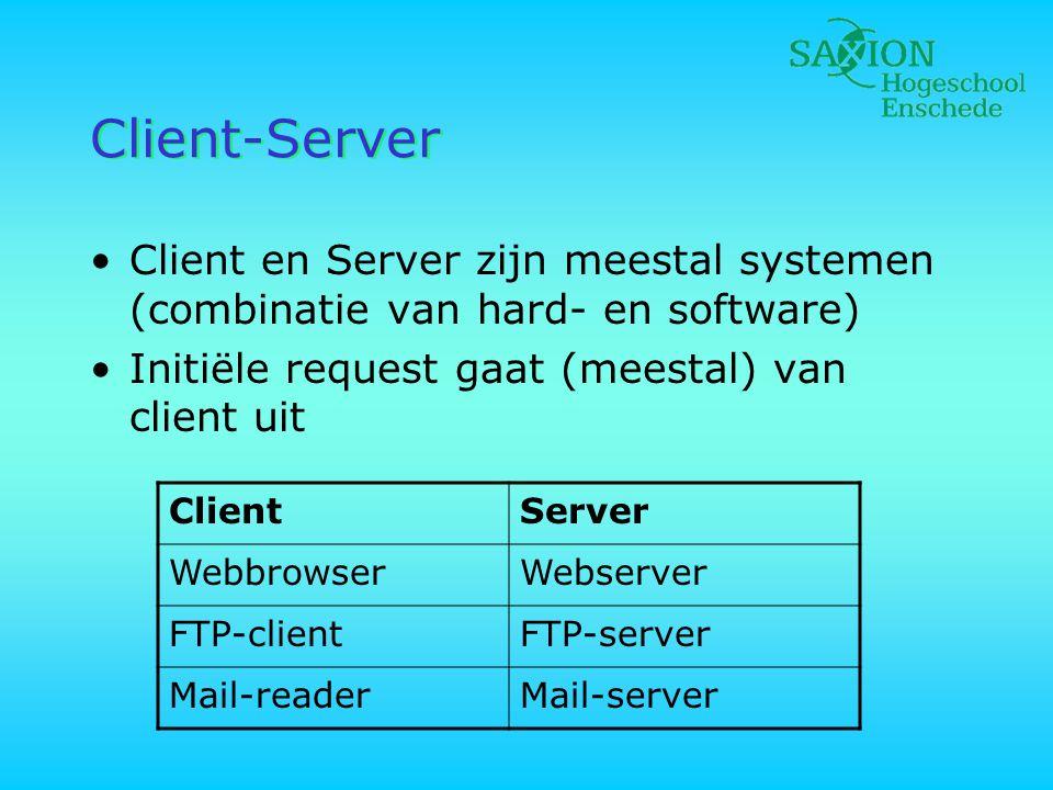 Client-Server Client en Server zijn meestal systemen (combinatie van hard- en software) Initiële request gaat (meestal) van client uit.