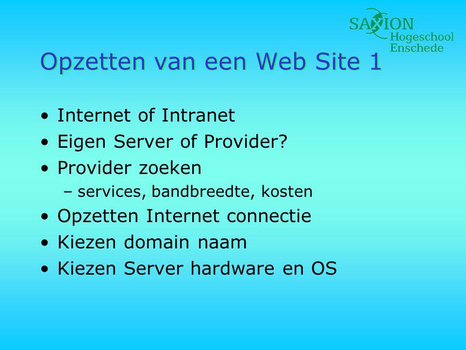 Opzetten van een Web Site 1