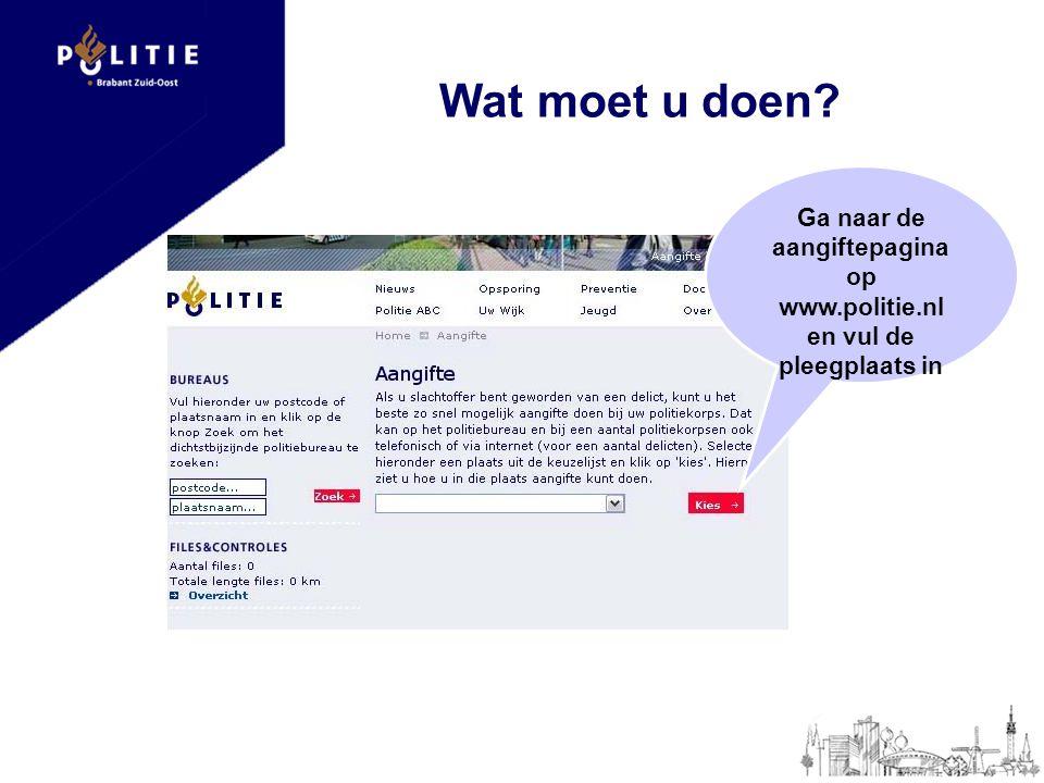 Ga naar de aangiftepagina op www.politie.nl en vul de pleegplaats in