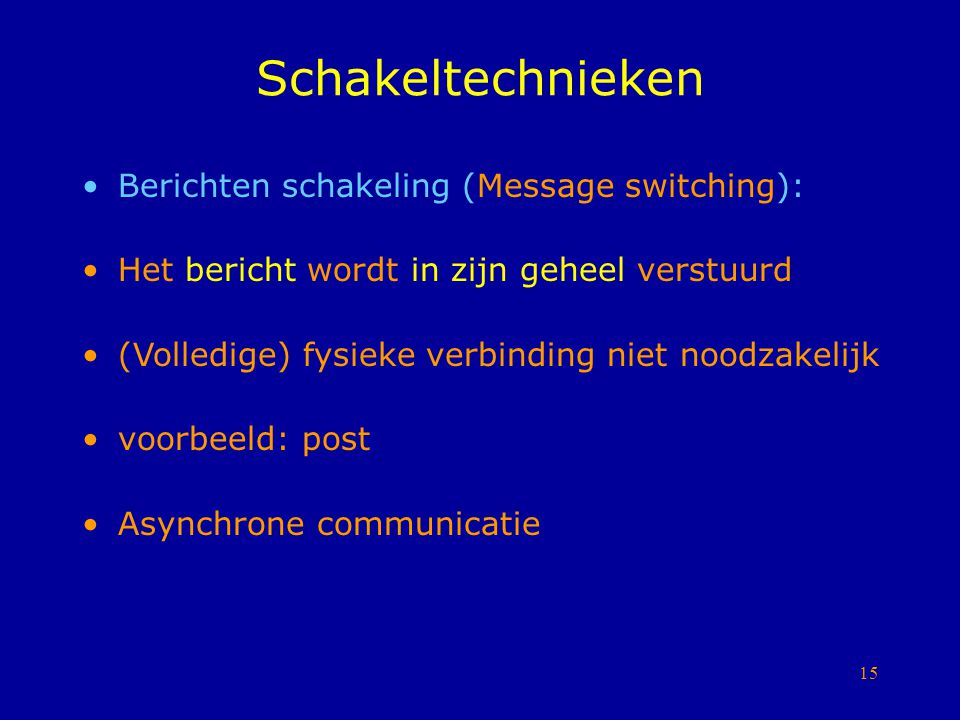 Schakeltechnieken Berichten schakeling (Message switching):