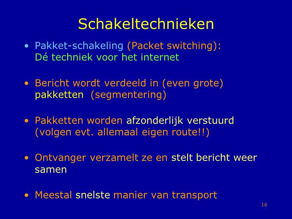 Schakeltechnieken Pakket-schakeling (Packet switching): Dé techniek voor het internet.