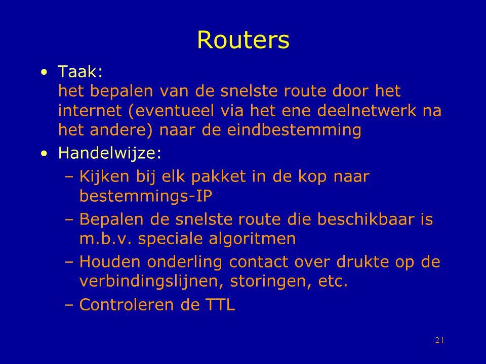 Routers Taak: het bepalen van de snelste route door het internet (eventueel via het ene deelnetwerk na het andere) naar de eindbestemming.