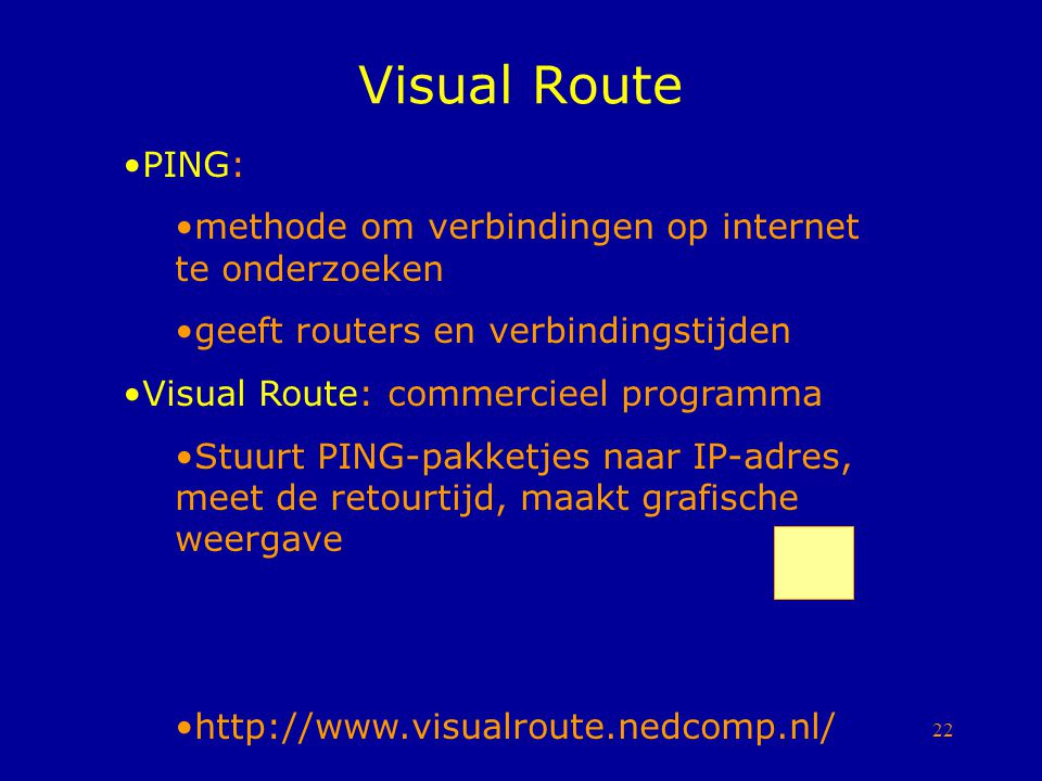 Visual Route PING: methode om verbindingen op internet te onderzoeken