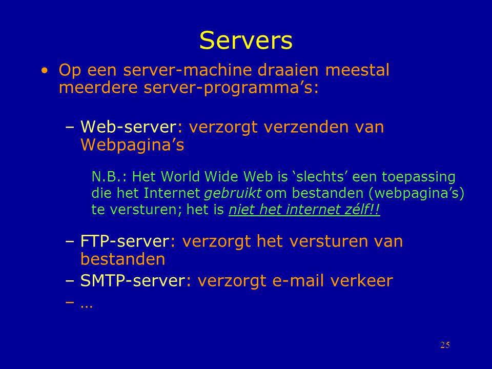 Servers Op een server-machine draaien meestal meerdere server-programma's: Web-server: verzorgt verzenden van Webpagina's.