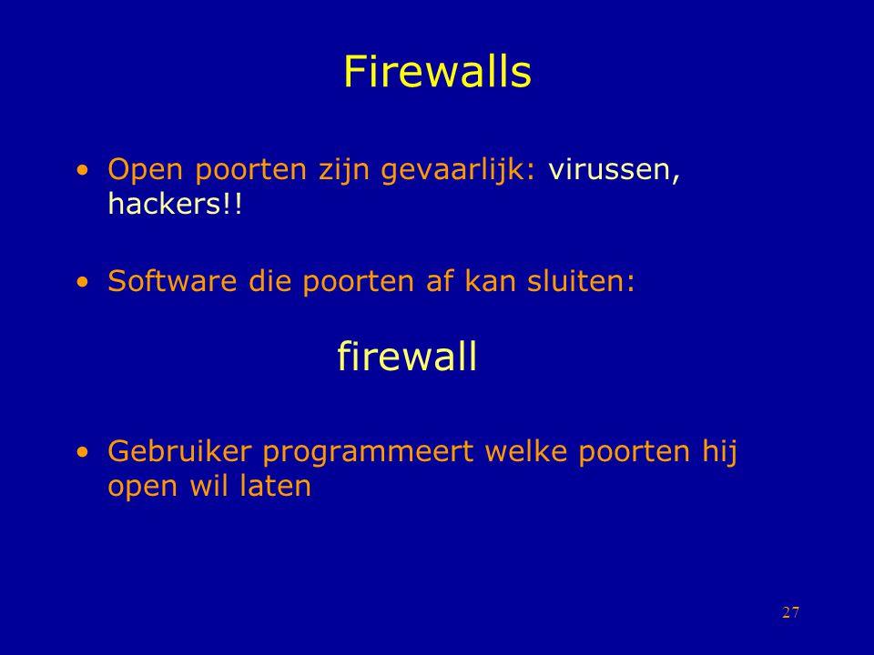 Firewalls Open poorten zijn gevaarlijk: virussen, hackers!!