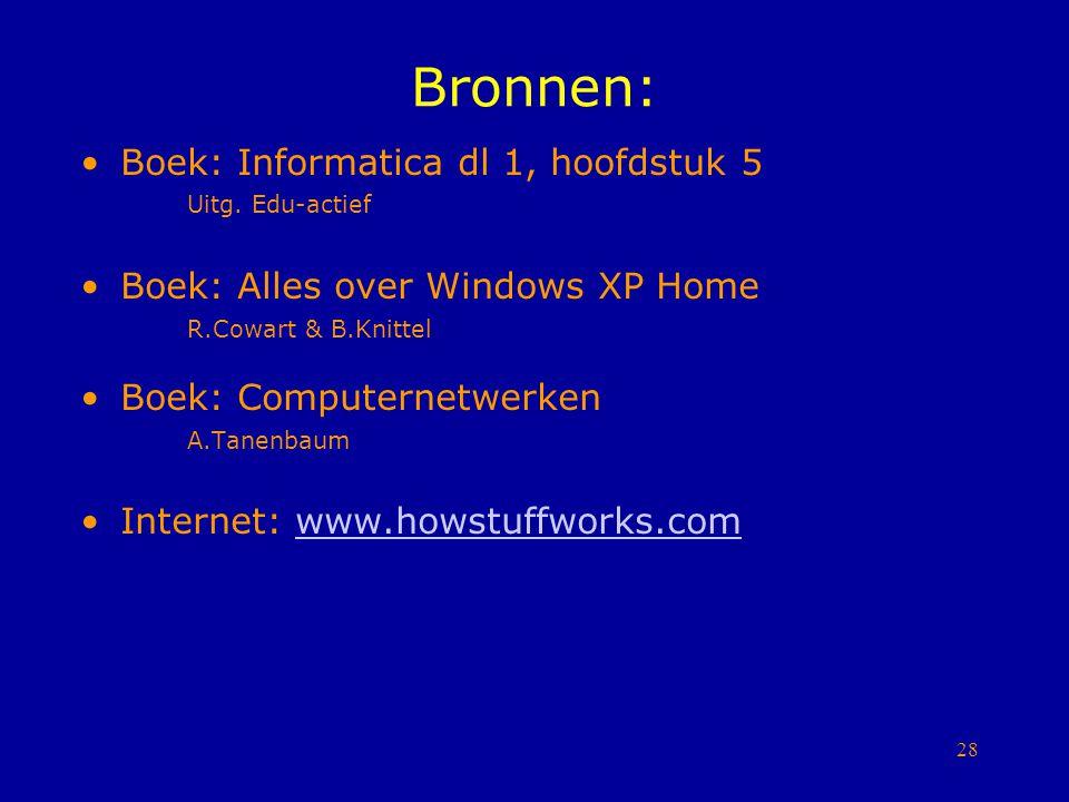 Bronnen: Boek: Informatica dl 1, hoofdstuk 5 Uitg. Edu-actief