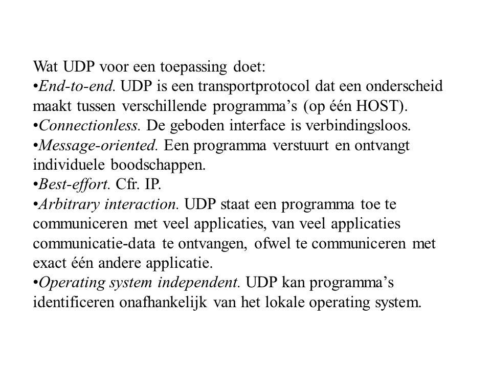 Wat UDP voor een toepassing doet: