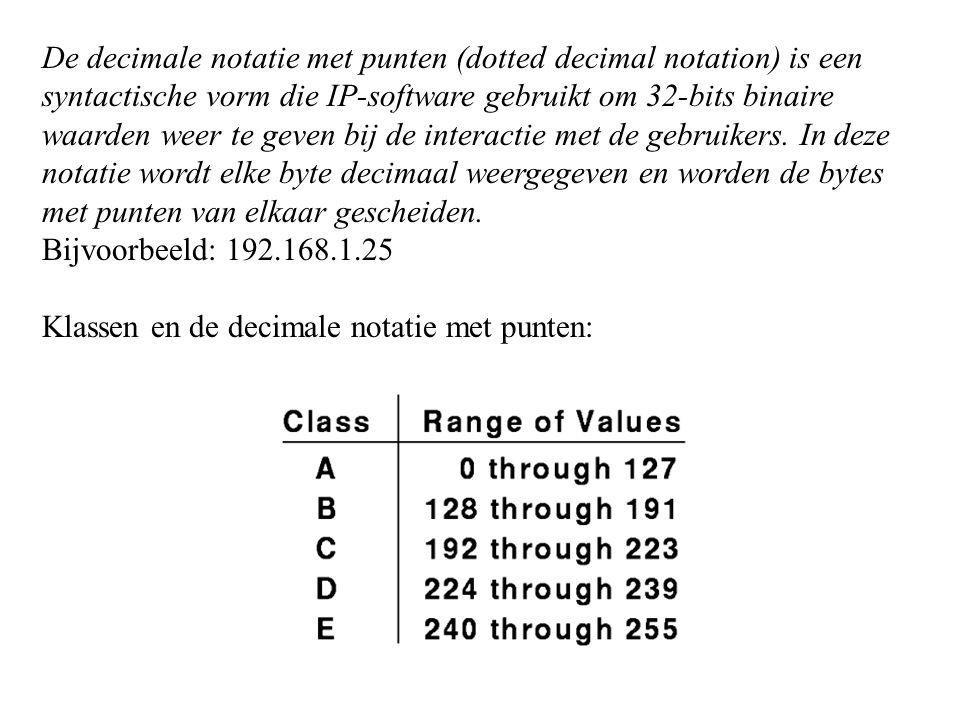 De decimale notatie met punten (dotted decimal notation) is een syntactische vorm die IP-software gebruikt om 32-bits binaire waarden weer te geven bij de interactie met de gebruikers. In deze notatie wordt elke byte decimaal weergegeven en worden de bytes met punten van elkaar gescheiden.