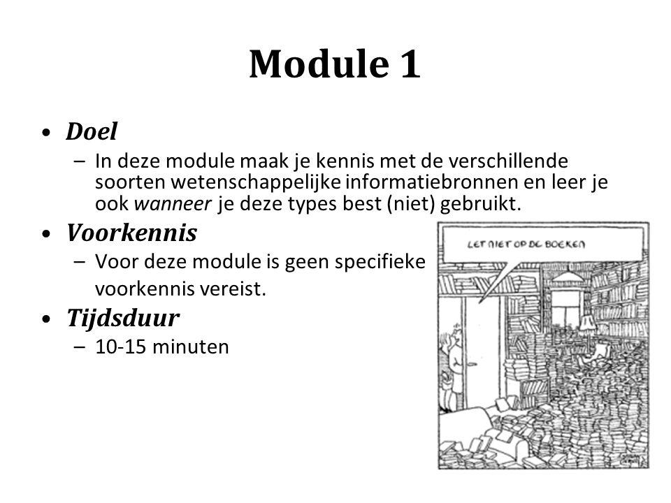 Module 1 Doel Voorkennis Tijdsduur