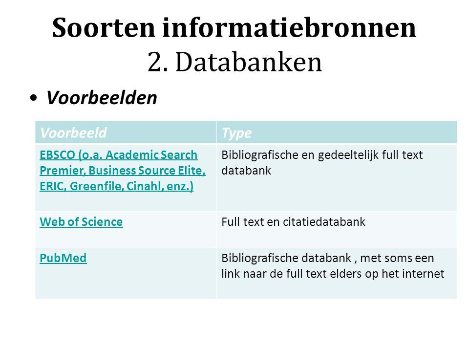 Soorten informatiebronnen 2. Databanken