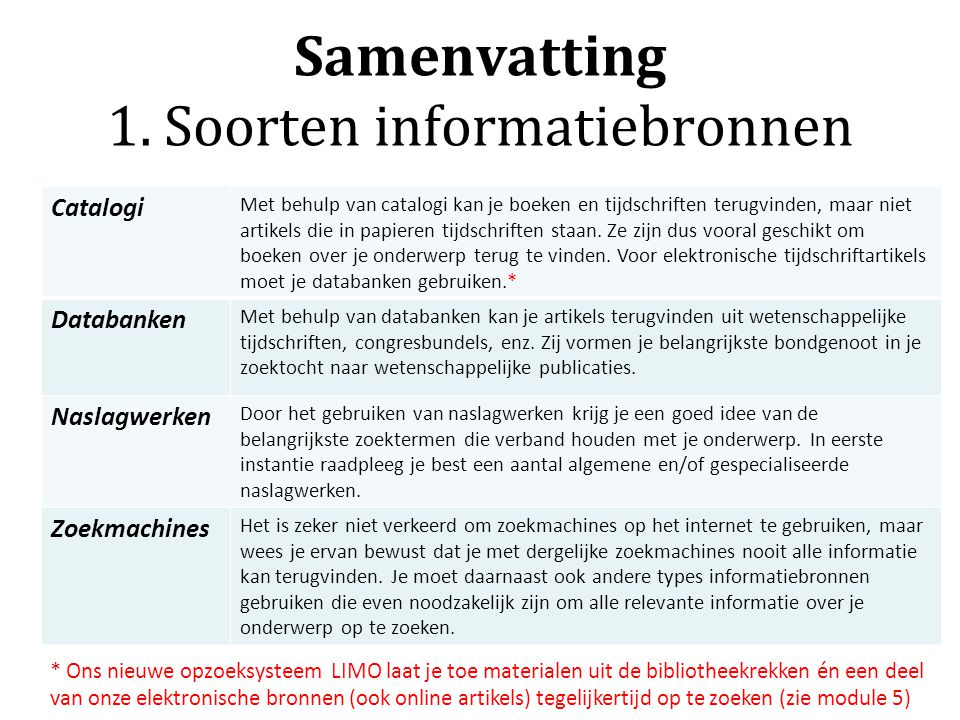Samenvatting 1. Soorten informatiebronnen