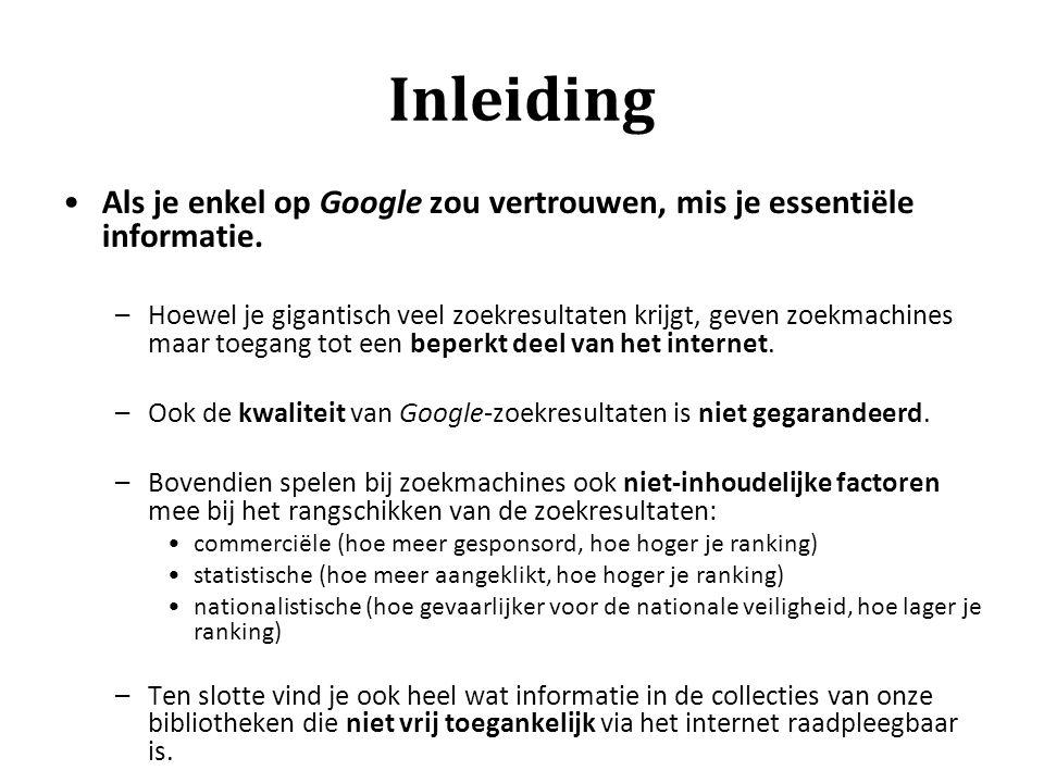 Inleiding Als je enkel op Google zou vertrouwen, mis je essentiële informatie.