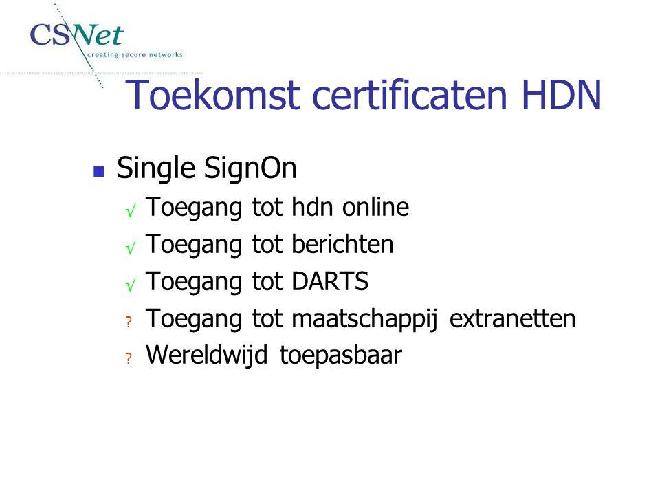 Toekomst certificaten HDN