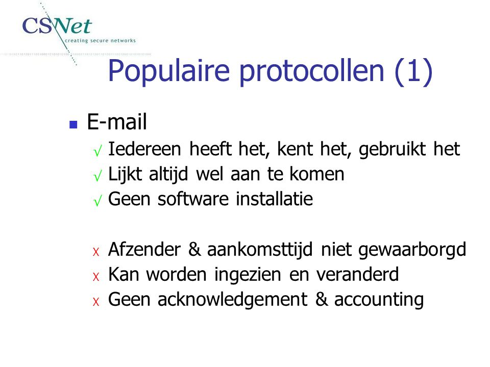 Populaire protocollen (1)