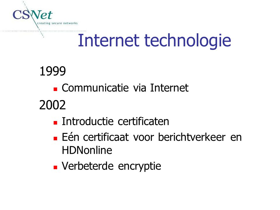 Internet technologie 1999 2002 Communicatie via Internet