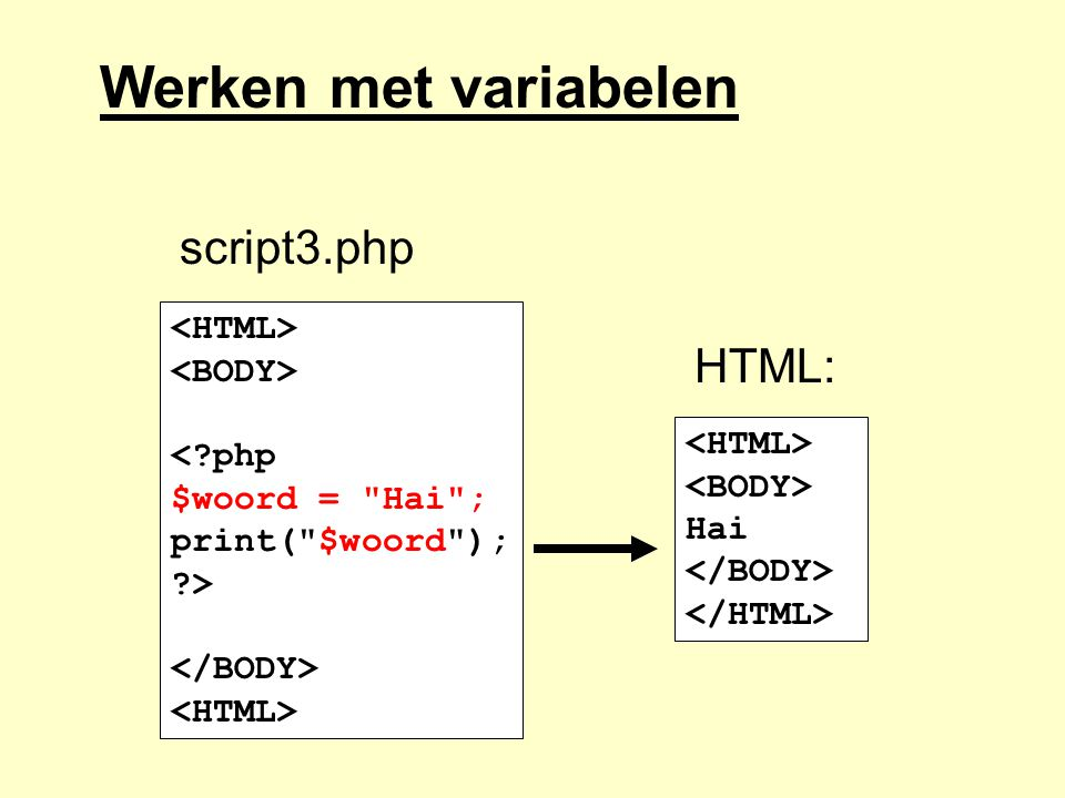 Werken met variabelen script3.php HTML: <HTML> <BODY>