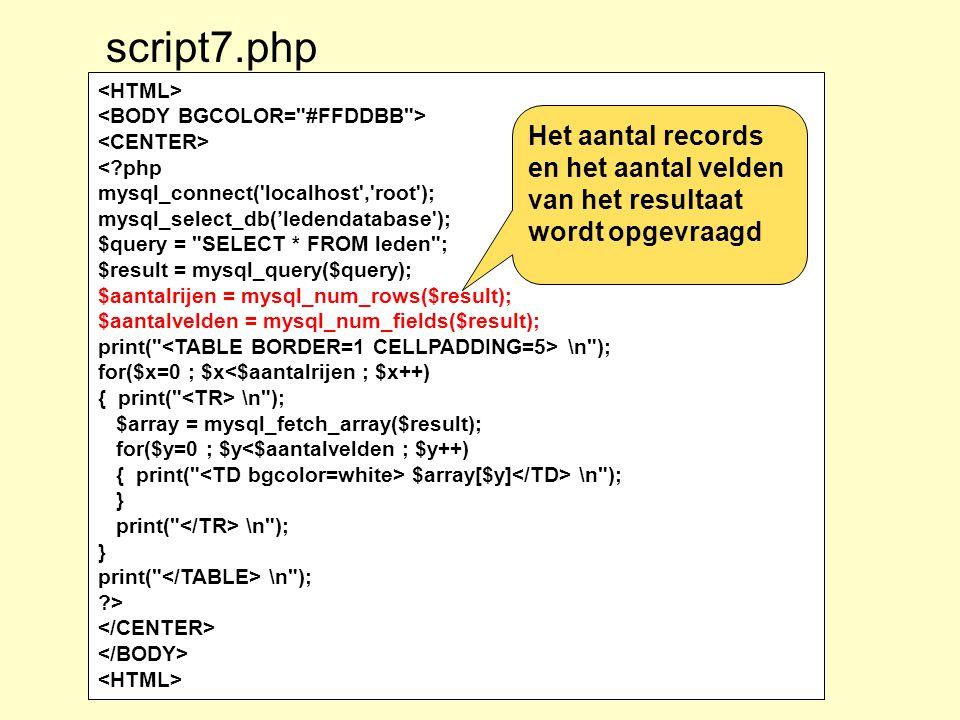 script7.php <HTML> <BODY BGCOLOR= #FFDDBB > <CENTER> < php. mysql_connect( localhost , root ); mysql_select_db('ledendatabase );
