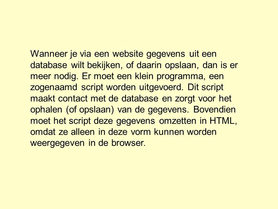 Wanneer je via een website gegevens uit een database wilt bekijken, of daarin opslaan, dan is er meer nodig.