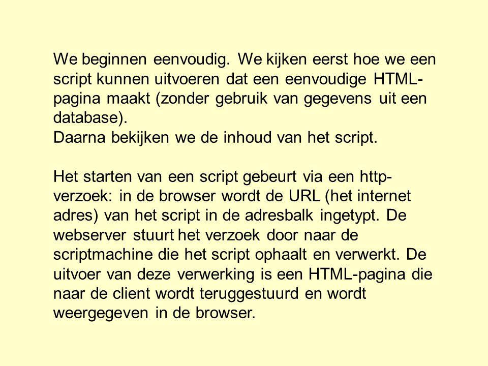 We beginnen eenvoudig. We kijken eerst hoe we een script kunnen uitvoeren dat een eenvoudige HTML-pagina maakt (zonder gebruik van gegevens uit een database).