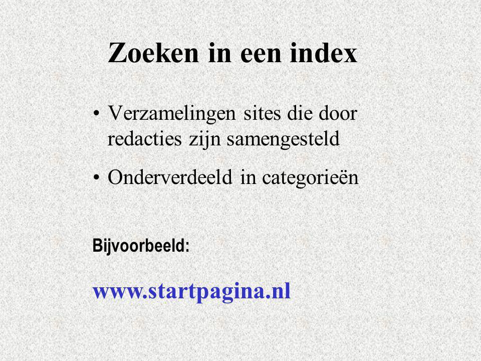 Zoeken in een index www.startpagina.nl