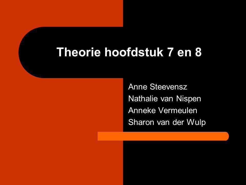 Theorie hoofdstuk 7 en 8 Anne Steevensz Nathalie van Nispen