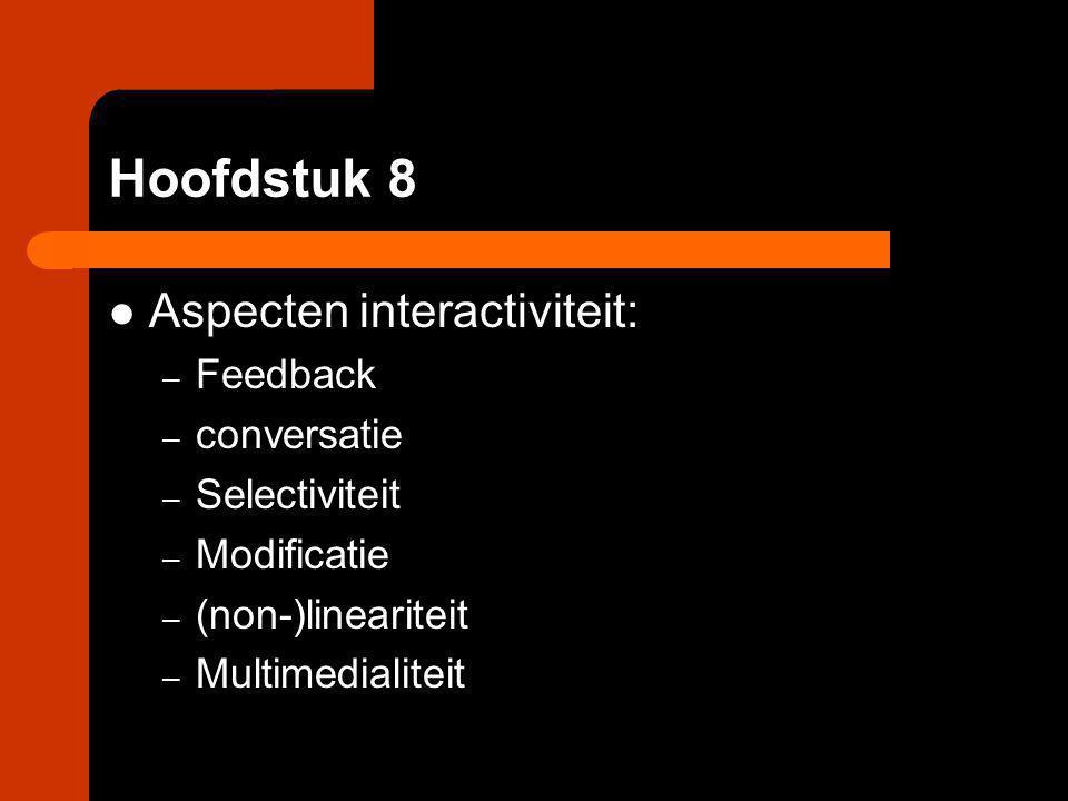 Hoofdstuk 8 Aspecten interactiviteit: Feedback conversatie