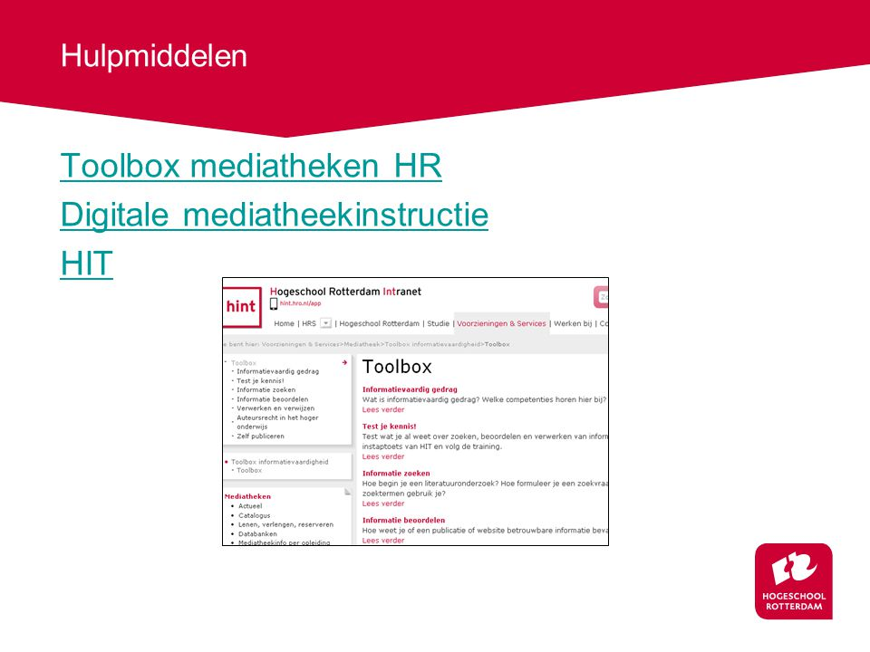 Toolbox mediatheken HR Digitale mediatheekinstructie HIT