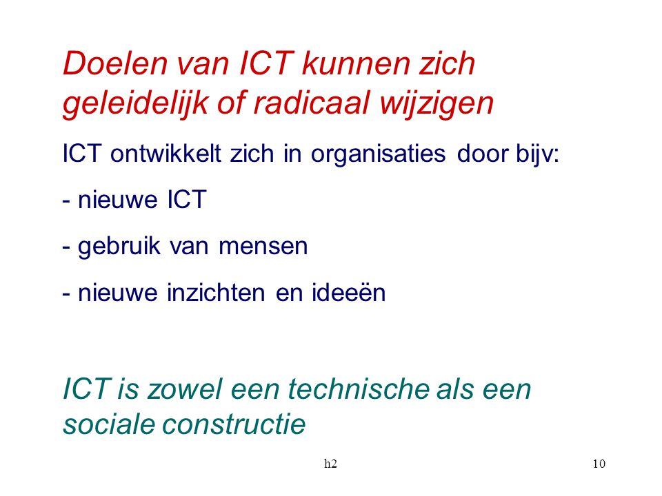 Doelen van ICT kunnen zich geleidelijk of radicaal wijzigen