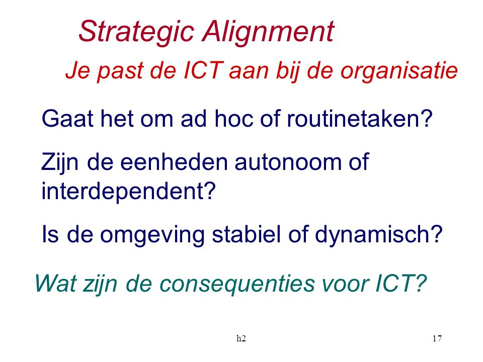 Strategic Alignment Je past de ICT aan bij de organisatie