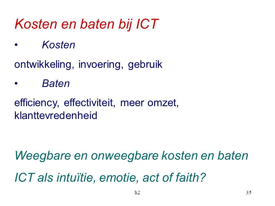 Kosten en baten bij ICT Weegbare en onweegbare kosten en baten
