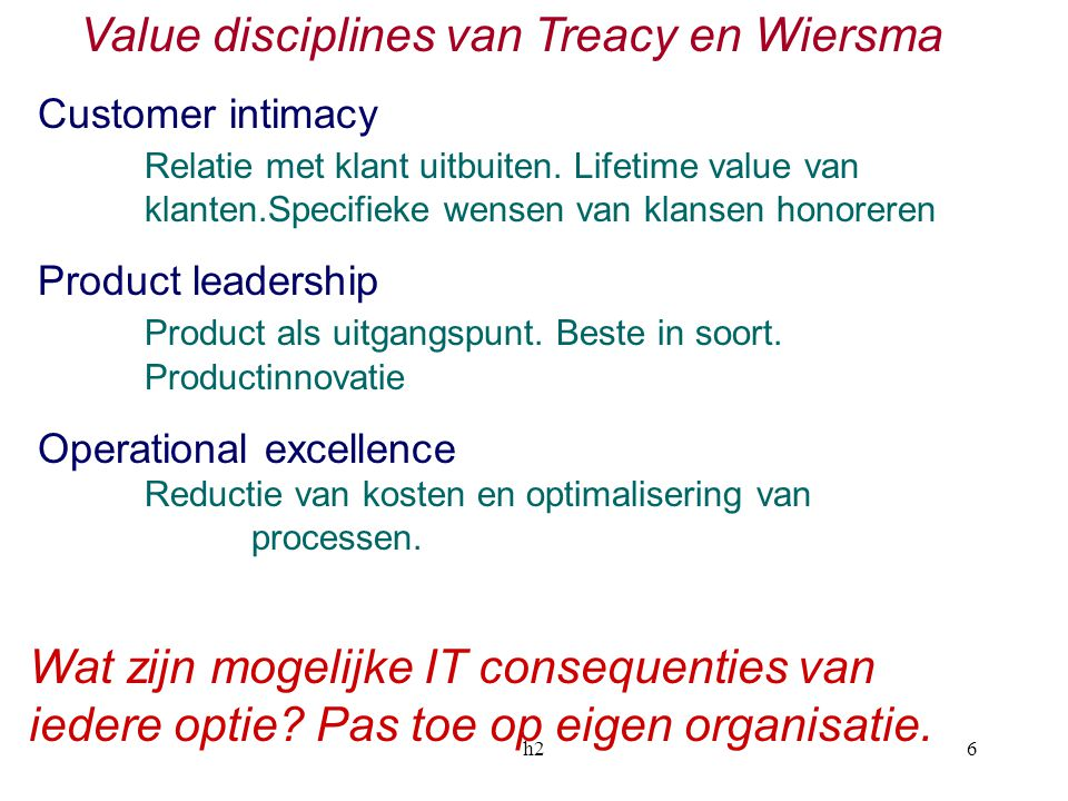 Value disciplines van Treacy en Wiersma