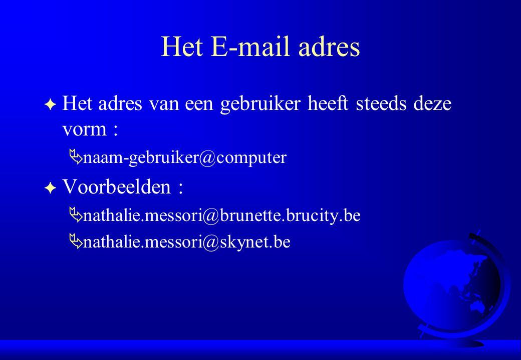 Het E-mail adres Het adres van een gebruiker heeft steeds deze vorm :