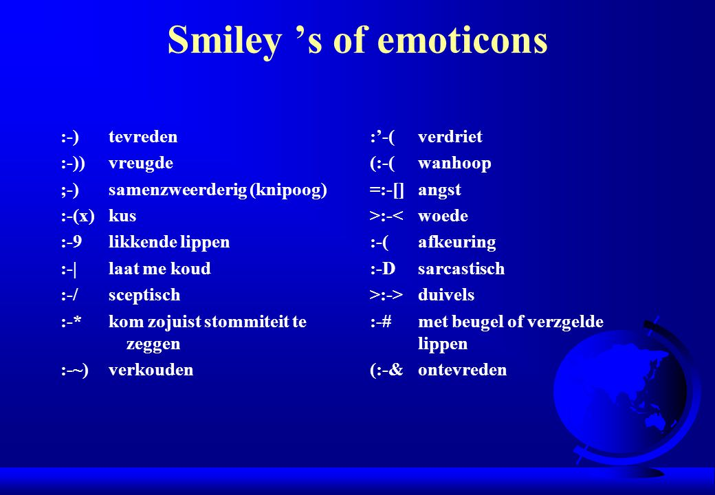 Smiley 's of emoticons :-) tevreden :-)) vreugde