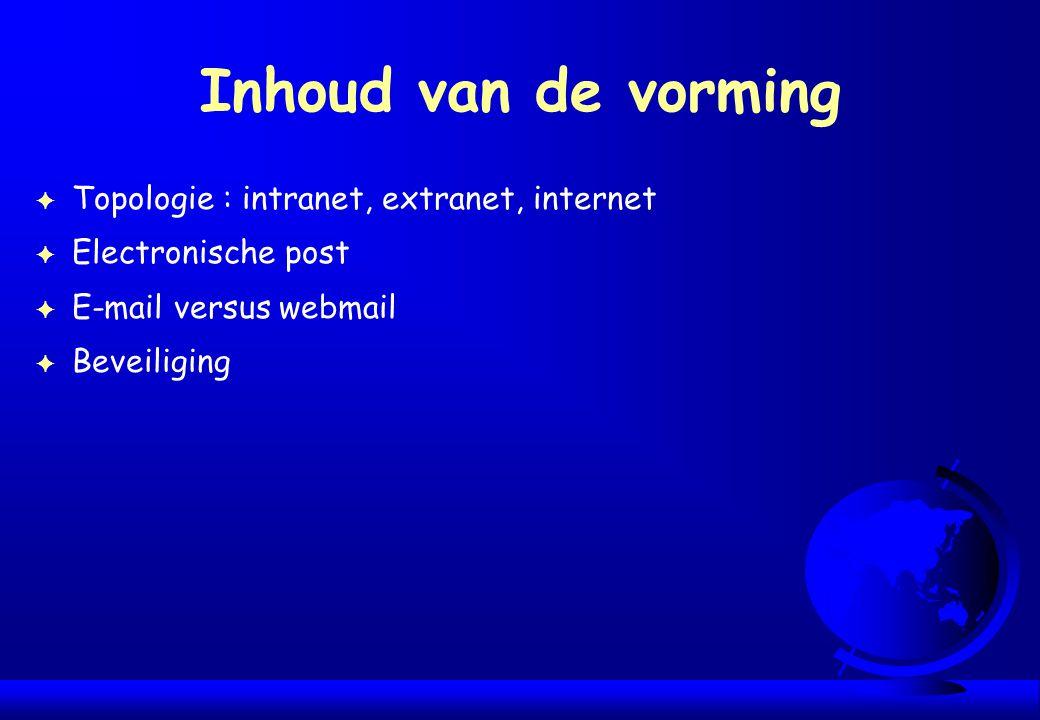 Inhoud van de vorming Topologie : intranet, extranet, internet