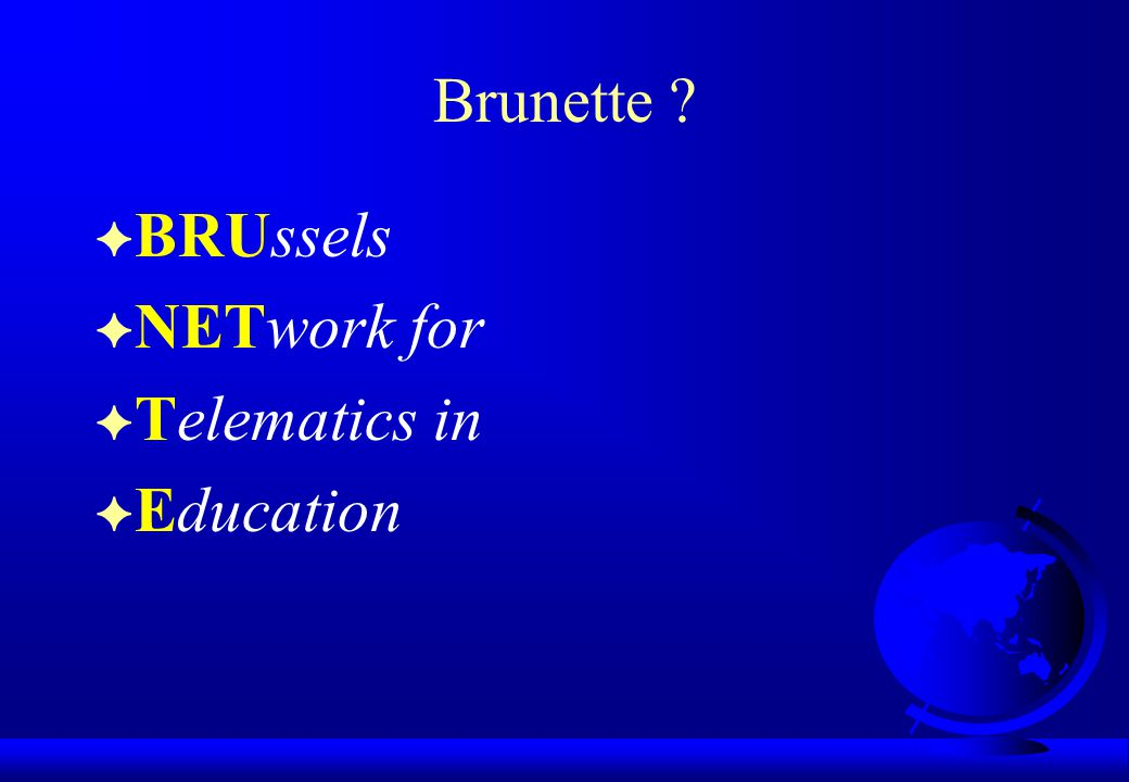 Brunette BRUssels NETwork for Telematics in Education