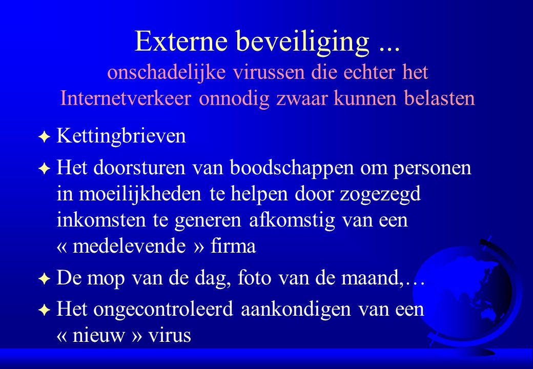 Externe beveiliging ... onschadelijke virussen die echter het Internetverkeer onnodig zwaar kunnen belasten