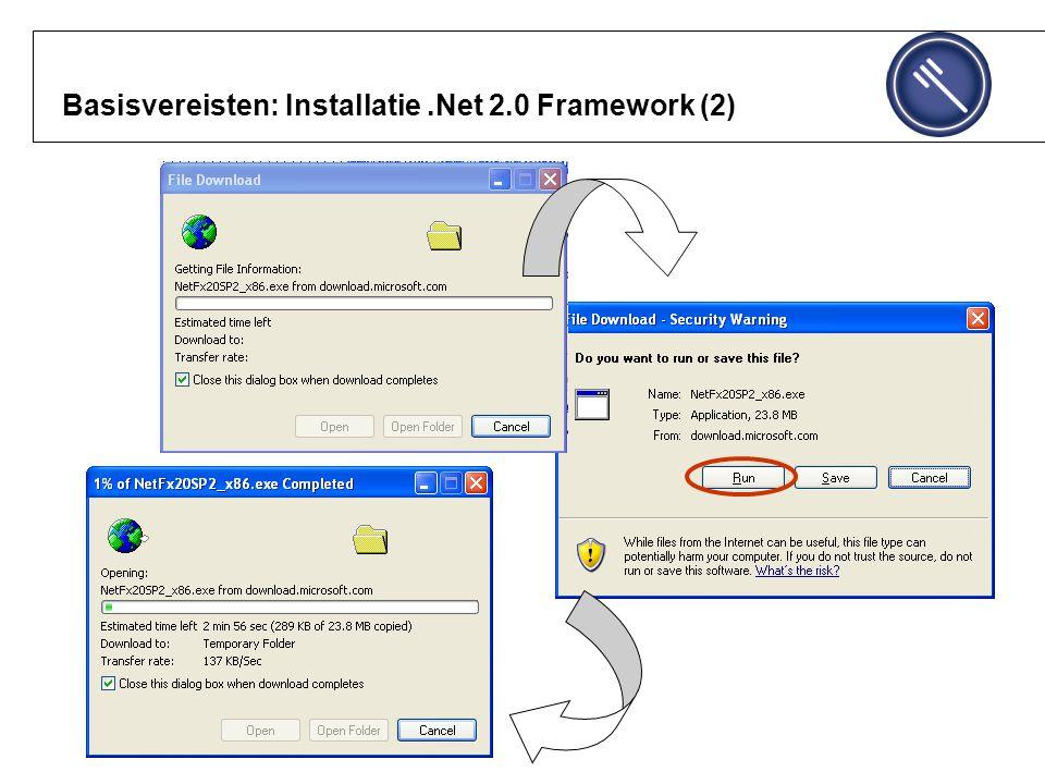 Basisvereisten: Installatie .Net 2.0 Framework (2)