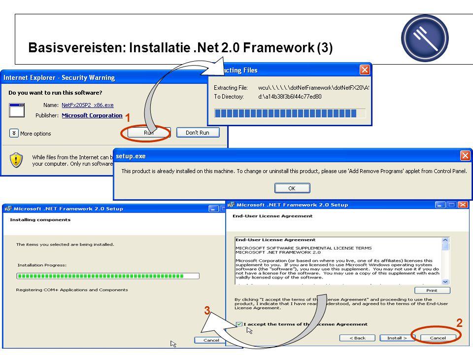 Basisvereisten: Installatie .Net 2.0 Framework (3)