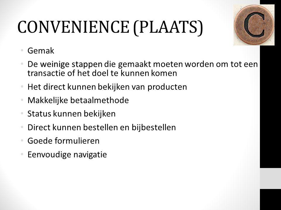 CONVENIENCE (PLAATS) Gemak