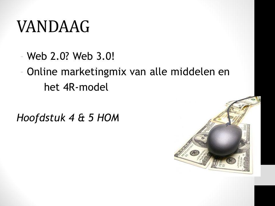 VANDAAG Web 2.0 Web 3.0! Online marketingmix van alle middelen en