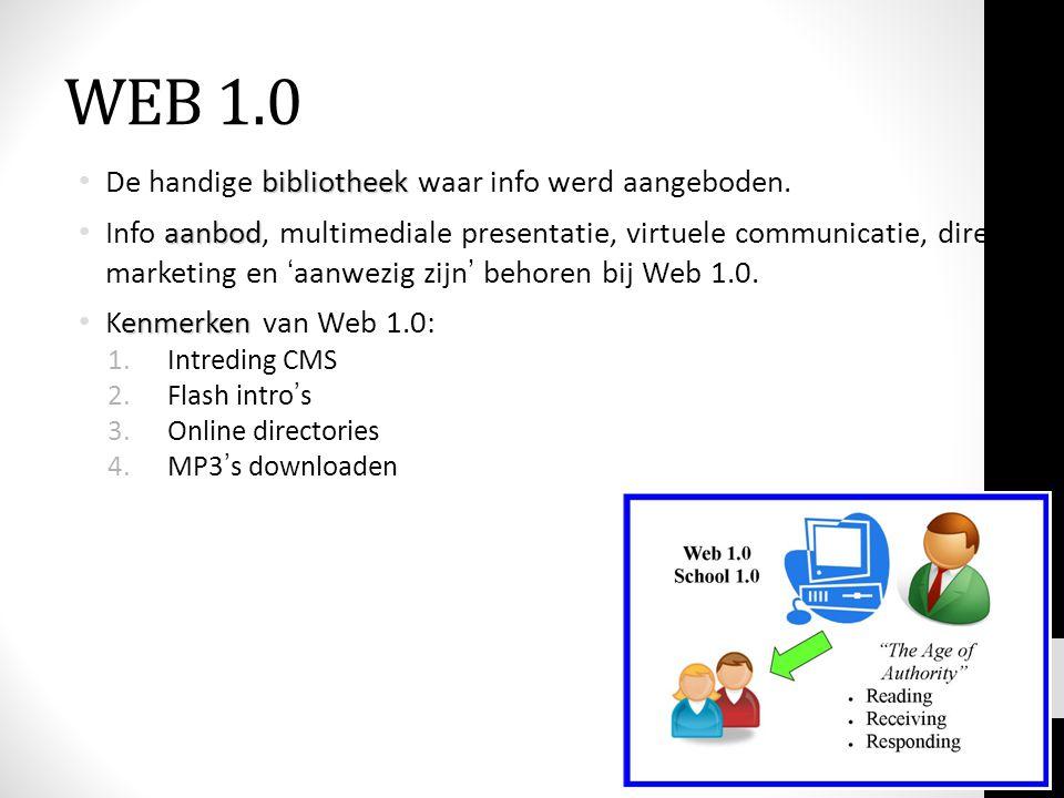 WEB 1.0 De handige bibliotheek waar info werd aangeboden.