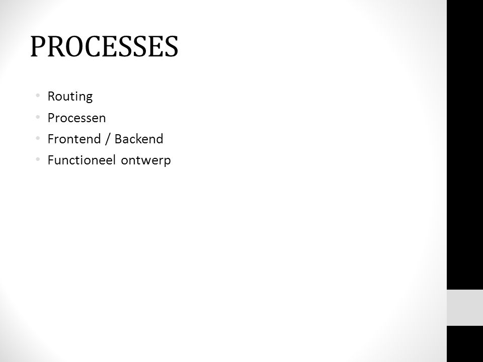 PROCESSES Routing Processen Frontend / Backend Functioneel ontwerp