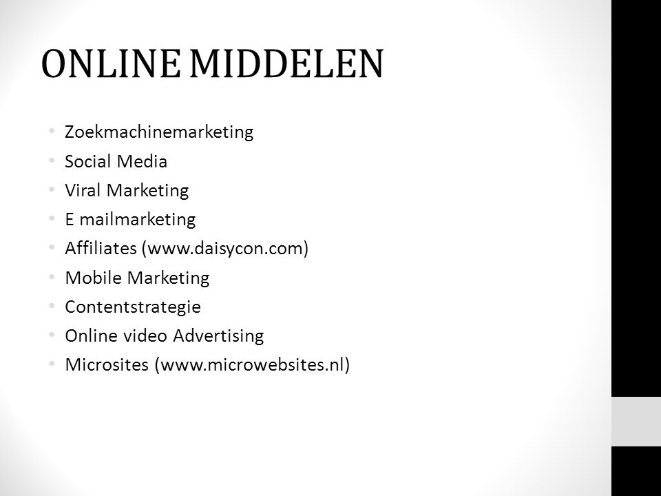 ONLINE MIDDELEN Zoekmachinemarketing Social Media Viral Marketing