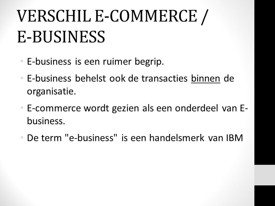 VERSCHIL E-COMMERCE / E-BUSINESS