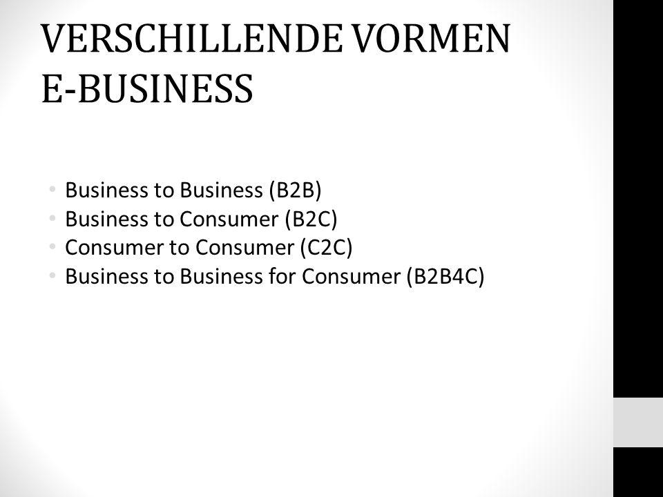 VERSCHILLENDE VORMEN E-BUSINESS