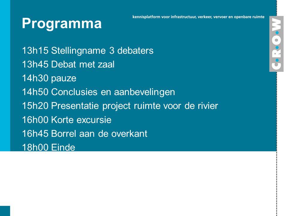 Programma 13h15 Stellingname 3 debaters 13h45 Debat met zaal